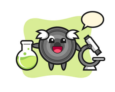Mascot character of camera lens as a scientist, cute style design for t shirt, sticker, logo element