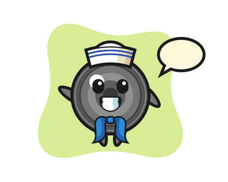Character mascot of camera lens as a sailor man, cute style design for t shirt, sticker, logo element