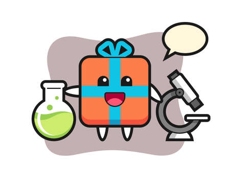 Mascot character of gift box as a scientist, cute style design for t shirt, sticker, logo element Illustration