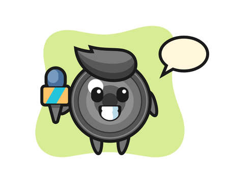Character mascot of camera lens as a news reporter, cute style design for t shirt, sticker, logo element