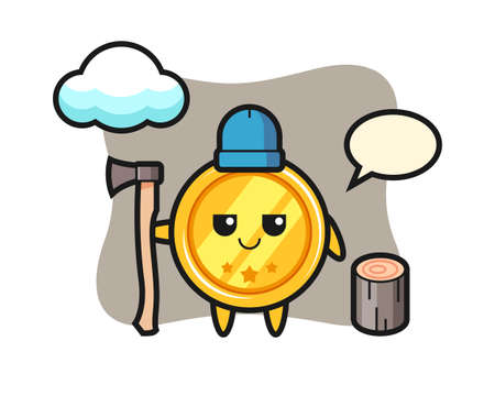 Character cartoon of medal as a woodcutter, cute style design for t shirt, sticker, logo element