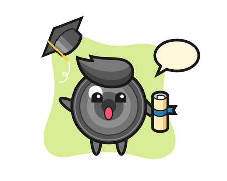 Illustration of camera lens cartoon throwing the hat at graduation, cute style design for t shirt, sticker, logo element 向量圖像