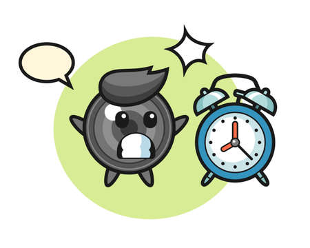 Cartoon illustration of camera lens is surprised with a giant alarm clock, cute style design for t shirt, sticker, logo element