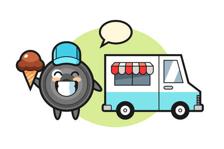 Mascot cartoon of camera lens with ice cream truck, cute style design for t shirt, sticker, logo element 向量圖像