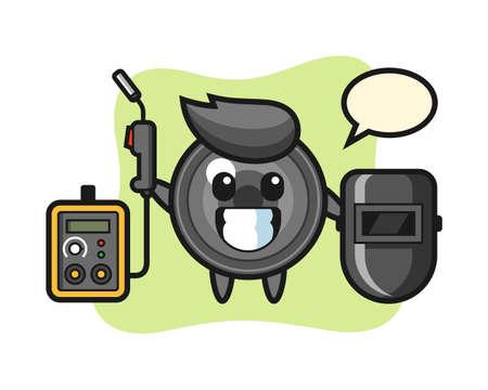 Character mascot of camera lens as a welder, cute style design for t shirt, sticker, logo element 向量圖像