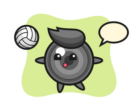 Character cartoon of camera lens is playing volleyball, cute style design for t shirt, sticker, logo element
