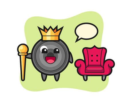Mascot cartoon of camera lens as a king, cute style design for t shirt, sticker, logo element 向量圖像