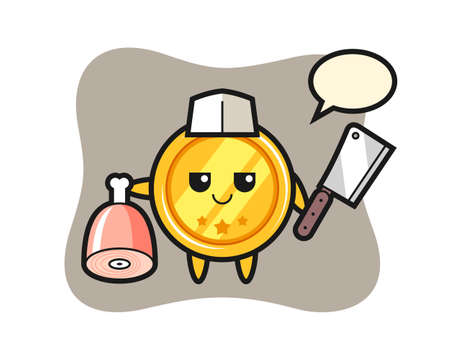 Illustration of medal character as a butcher, cute style design for t shirt, sticker, logo element Logos