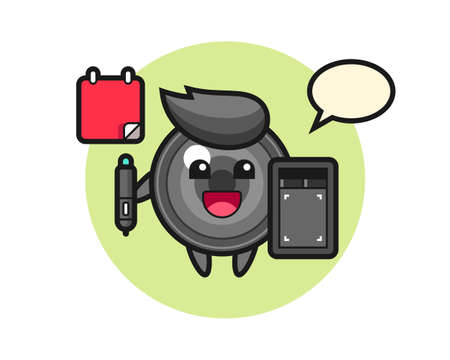 Illustration of camera lens mascot as a graphic designer, cute style design for t shirt, sticker, logo element