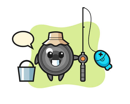 Mascot character of camera lens as a fisherman, cute style design for t shirt, sticker, logo element