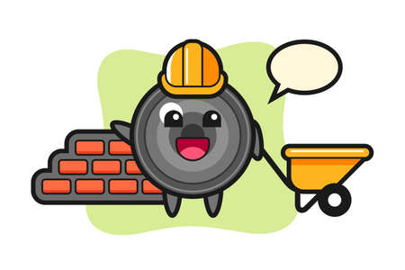 Cartoon character of camera lens as a builder, cute style design for t shirt, sticker, logo element 向量圖像