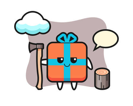 Character cartoon of gift box as a woodcutter, cute style design for t shirt, sticker, logo element