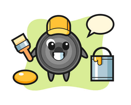 Character illustration of camera lens as a painter, cute style design for t shirt, sticker, logo element