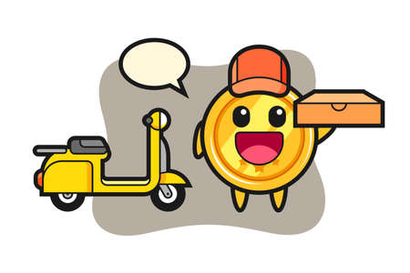 Character illustration of medal as a pizza deliveryman, cute style design for t shirt, sticker, logo element