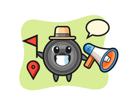 Character cartoon of camera lens as a tour guide, cute style design for t shirt, sticker, logo element  イラスト・ベクター素材