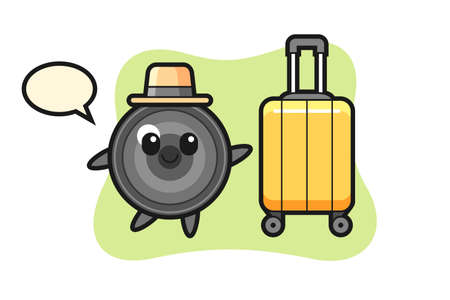 Camera lens cartoon illustration with luggage on vacation, cute style design for t shirt, sticker, logo element 向量圖像