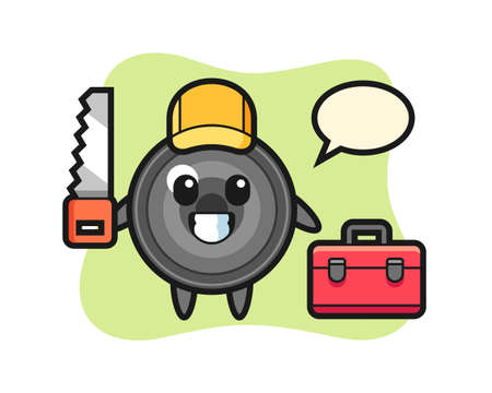Illustration of camera lens character as a woodworker, cute style design for t shirt, sticker, logo element
