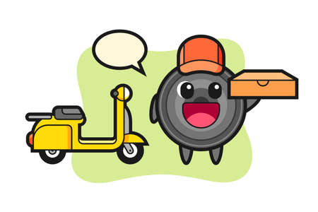 Character illustration of camera lens as a pizza deliveryman, cute style design for t shirt, sticker, logo element
