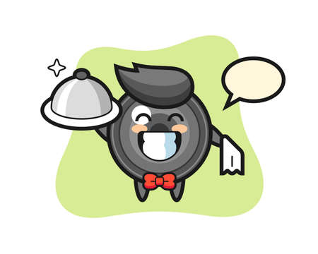 Character mascot of camera lens as a waiters, cute style design for t shirt, sticker, logo element