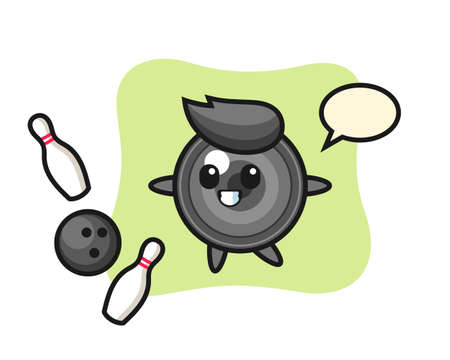 Character cartoon of camera lens is playing bowling, cute style design for t shirt, sticker, logo element 向量圖像