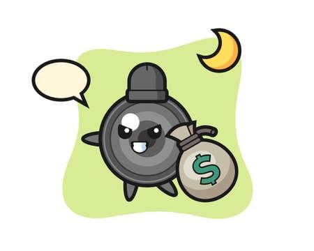Illustration of camera lens cartoon is stolen the money, cute style design for t shirt, sticker, logo element