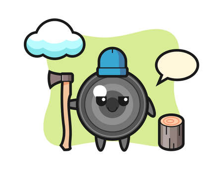 Character cartoon of camera lens as a woodcutter, cute style design for t shirt, sticker, logo element Illustration