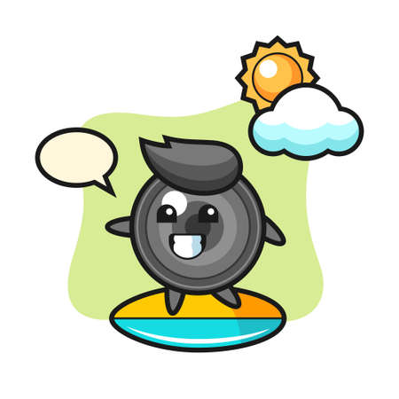 Illustration of camera lens cartoon do surfing on the beach, cute style design for t shirt, sticker, logo element