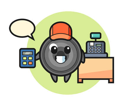 Illustration of camera lens character as a cashier, cute style design for t shirt, sticker, logo element