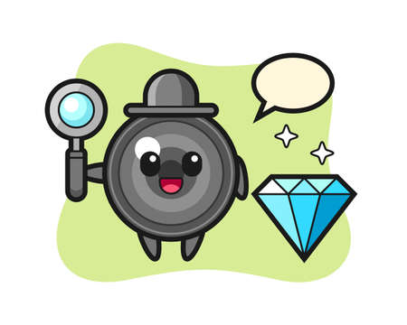 Illustration of camera lens character with a diamond, cute style design for t shirt, sticker, logo element Illusztráció