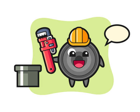 Character illustration of camera lens as a plumber, cute style design for t shirt, sticker, logo element