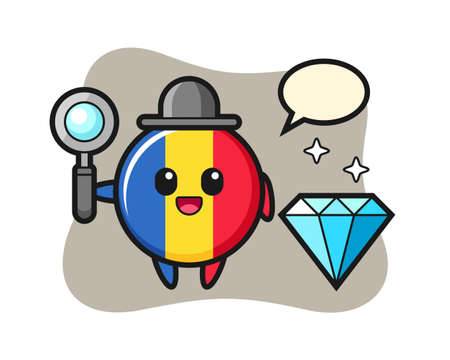 Illustration of romania flag badge character with a diamond, cute style design for t shirt, sticker, logo element Illusztráció