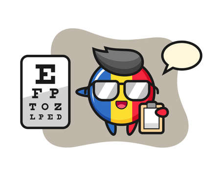 Illustration of romania flag badge mascot as a ophthalmology, cute style design for t shirt, sticker, logo element