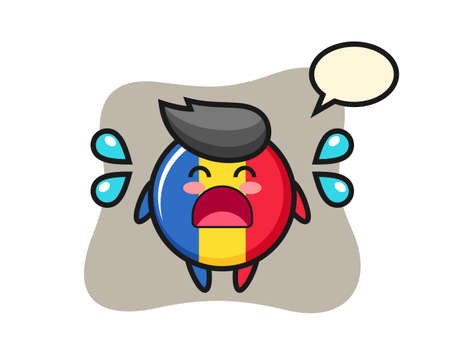 Romania flag badge cartoon illustration with crying gesture, cute style design for t shirt, sticker, logo element
