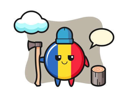 Character cartoon of romania flag badge as a woodcutter, cute style design for t shirt, sticker, logo element