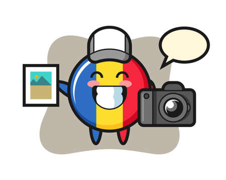 Character illustration of romania flag badge as a photographer, cute style design for t shirt, sticker, logo element