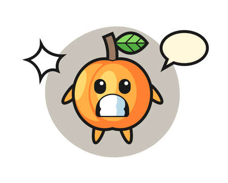 Apricot character cartoon with shocked gesture, cute style design for t shirt, sticker, logo element