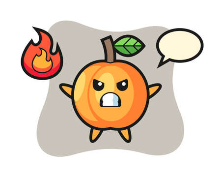 Apricot character cartoon with angry gesture, cute style design for t shirt, sticker, logo element
