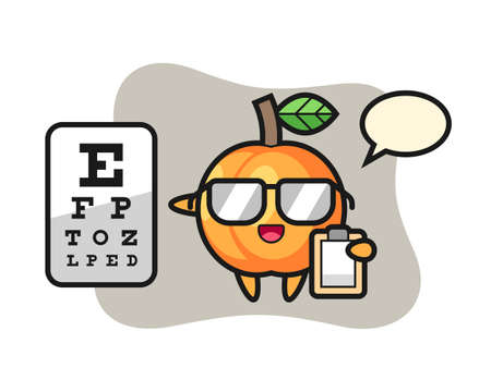 Illustration of apricot mascot as a ophthalmology, cute style design for t shirt, sticker, logo element