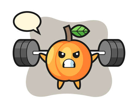 Apricot mascot cartoon with a barbell, cute style design for t shirt, sticker, logo element