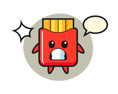 French fries character cartoon with shocked gesture, cute style design for t shirt, sticker, logo element