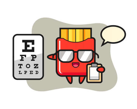 Illustration of french fries mascot as a ophthalmology, cute style design for t shirt, sticker, logo element