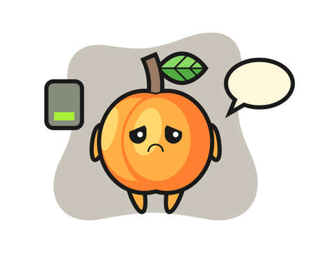 Apricot mascot character doing a tired gesture, cute style design for t shirt, sticker, logo element 向量圖像