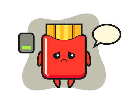 French fries mascot character doing a tired gesture, cute style design for t shirt, sticker, logo element 向量圖像