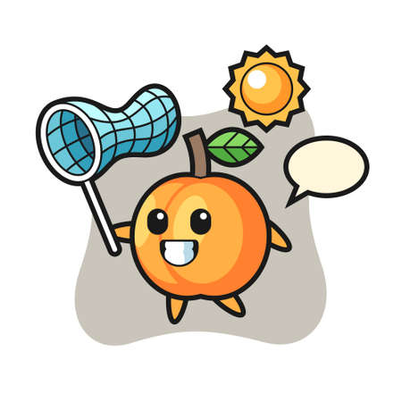 Apricot mascot illustration is catching butterfly, cute style design for t shirt, sticker, logo element Illustration