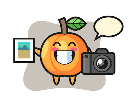 Character illustration of apricot as a photographer, cute style design for t shirt, sticker, logo element