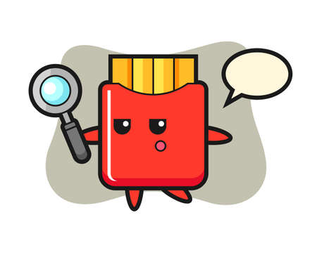 French fries cartoon character searching with a magnifying glass, cute style design for t shirt, sticker, logo element