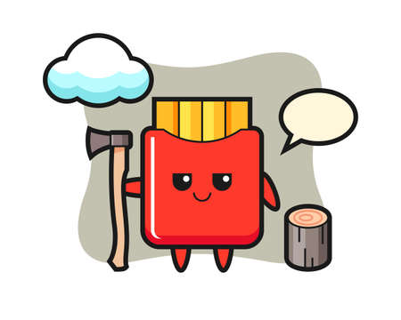 Character cartoon of french fries as a woodcutter, cute style design for t shirt, sticker, logo element Illustration
