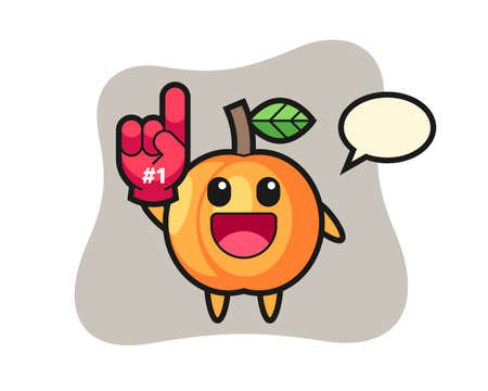Apricot illustration cartoon with number 1 fans glove, cute style design for t shirt, sticker, logo element