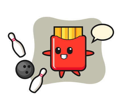 Character cartoon of french fries is playing bowling, cute style design for t shirt, sticker, logo element Stock fotó - 157232871