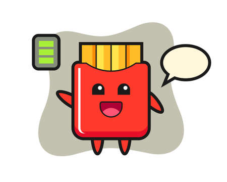 French fries mascot character with energetic gesture, cute style design for t shirt, sticker, logo element